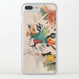 Water color baby tiger Clear iPhone Case