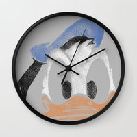 donald duck Wall Clocks featuring MICKEY MOUSE: PAPERINO DONALD DUCK by DrakenStuff+