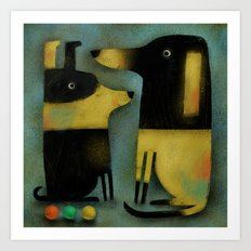 YELLOW AND BLACK HOUNDS Art Print