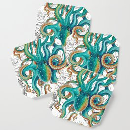 Teal Octopus Tentacles Vintage Map Nautical Coaster