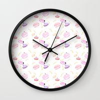 macaroon Wall Clocks featuring Macaroon Delight Pattern by kitelin