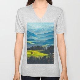BLUE MOUNTAIN Unisex V-Neck