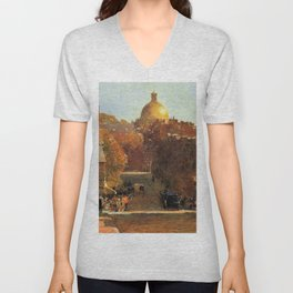 Classical Masterpiece 'Mount Vernon Street, Boston' by Frederick Childe Hassam Unisex V-Neck