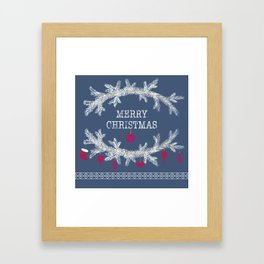 Merry christmas and happy new year greeting card wreath background Framed Art Print
