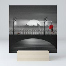 The bridge in the summer rain Mini Art Print