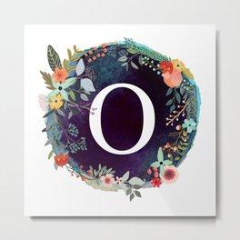 Personalized Monogram Initial Letter O Floral Wreath Artwork Metal Print