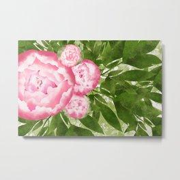 Watercolor Peony Garden Metal Print