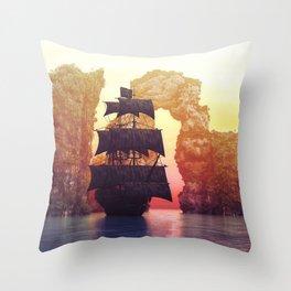 A pirate ship off an island at a sunset Throw Pillow