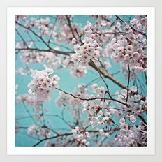 blossoms all over ~ color option teal Art Print