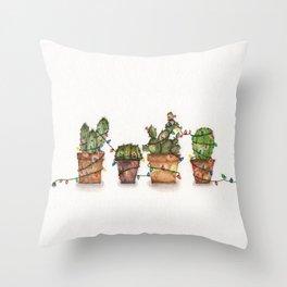 Festive  cacti - watercolor Throw Pillow