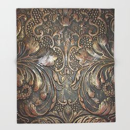 Golden Brown Carved Tooled Leather Throw Blanket