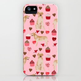 Yellow Lab valentines day hearts cupcakes cute labrador retriever iPhone Case
