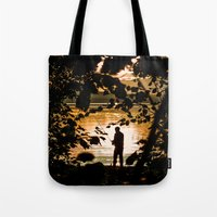 fishing Tote Bags featuring Fishing by Svetlana Korneliuk
