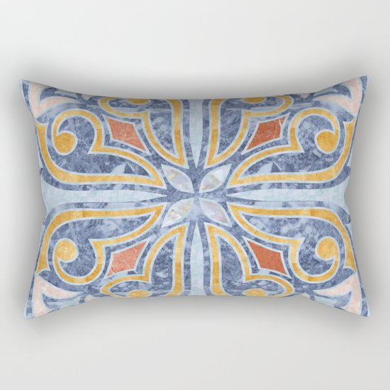 Blue Oriental Tile 04 Rectangular Pillow