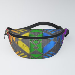 Colorful Geometric Wooden texture pattern Fanny Pack