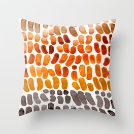 Colorful Watercolor Abstract Scale Bean Pattern Yellow Ochre Brown Orange Throw Pillow