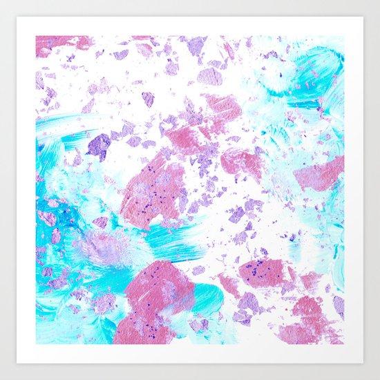Pink and Blue Metallic Modern Abstract Art Print