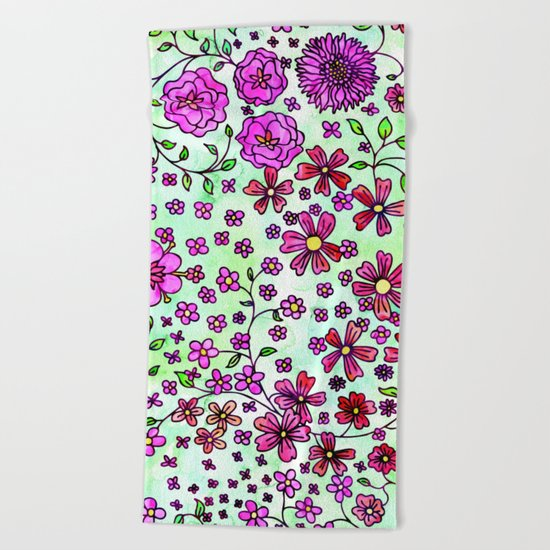 Pink Small Flowers Beach Towel
