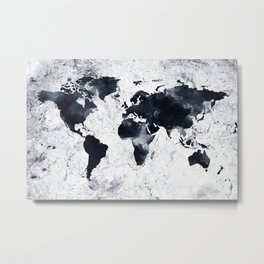 Black Ink World Map Metal Print
