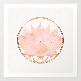 Blush Zen Lotus ~ Metallic Accents Art Print