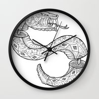 snake Wall Clocks featuring SNAKE by JustJustin