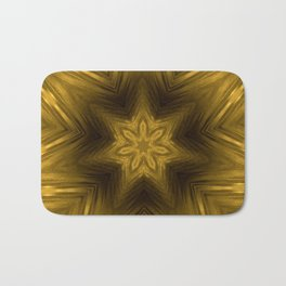 Golden Amber Metalic Abstract Star #Kaleidoscope Bath Mat
