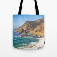 big sur Tote Bags featuring Big Sur Blue by Jenndalyn