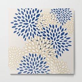 Flowers Bloom, Blue, Yellow, White, Beige, Modern, Floral Prints Metal Print