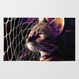 bengal cat yearns for freedom vector art late sunset Rug