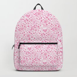 Abstract pink garden pattern in white background Backpack