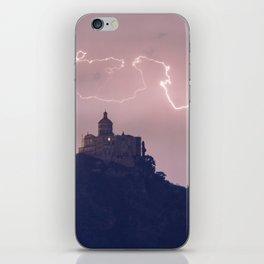 Amazing lightning around the church iPhone Skin