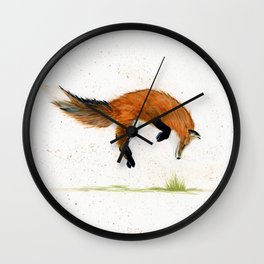 Jumping Jack Fox - animal watercolor painting Wall Clock
