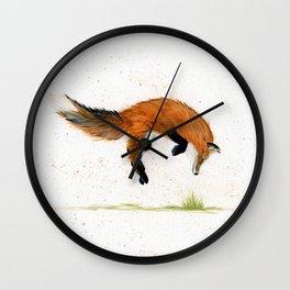 Jumping Jack Fox - animal watercolor painting Wall Clock