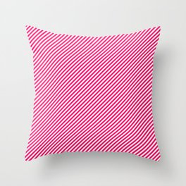 Mini Hot Neon Pink and White Candy Cane Stripes Throw Pillow
