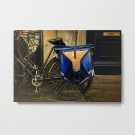 Amsterdam Dutch Bikes: The Blue Saddle Bag Metal Print