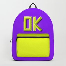 """""""OK"""" 3D Letters (Violet Purple, Lime Green Yellow) Backpack"""