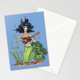 Ukulele day of the dead musical mermaid musica de dia de Los muertos Stationery Cards