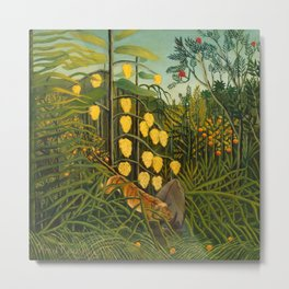 """Henri Rousseau """"In a Tropical Forest. Struggle between Tiger and Bull"""" Metal Print"""