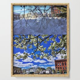 Changing Seasons of Knightville, South Portland, Maine Serving Tray