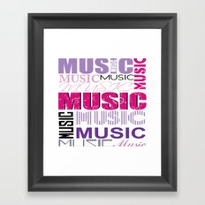 The Word Music In Purple and Pink Framed Art Print