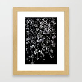 White ink. graphic with white ink  and black cardboard. flowers Framed Art Print