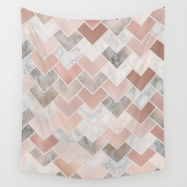 Rose Gold and Marble Geometric Tiles Wall Tapestry