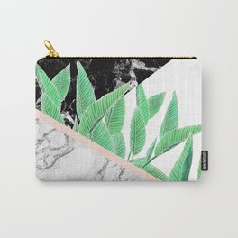 Modern tropical palm tree black white marble color block pastel blush pink Carry-All Pouch