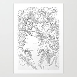 Doodle black and white woman Art Print