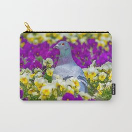 Pigeon and Pansies Carry-All Pouch