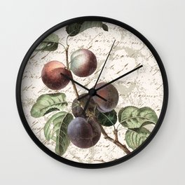 Vintage Botanical Plum with Distressed Script Digital Collage Wall Clock