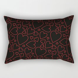 Red and black hearts pattern. Rectangular Pillow