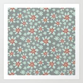 Gray Floral Art Print