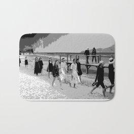 beach looks  karl black and white Bath Mat