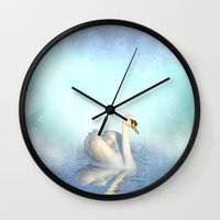 swan queen Wall Clocks featuring Swan by haroulita